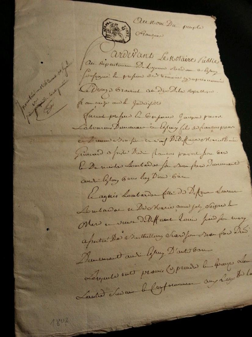 1802 Antique 8 Pages Notary Document Manuscripts - 2