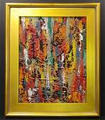 Original Abstract Modern Painting Signed W COA