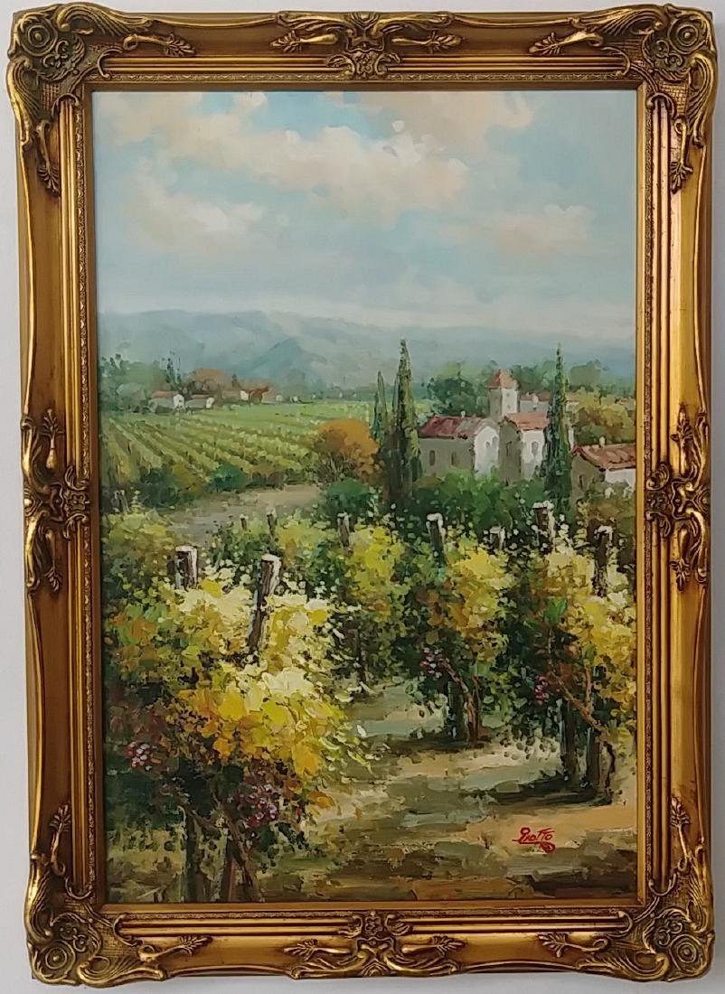 Olives & Vineyards Fields Oil Painting Italian Country