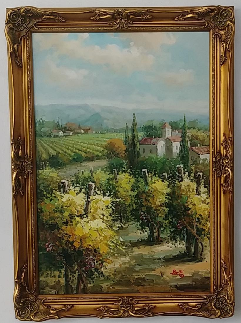 Olives & Vineyards Fields Oil Painting Italian Country - 2