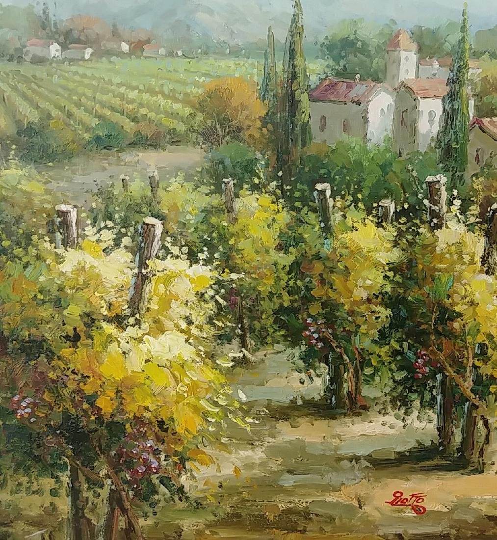 Olives & Vineyards Fields Oil Painting Italian Country - 4
