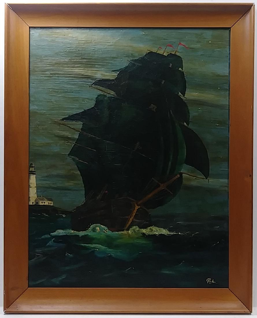 Antique Boat Oil Painting signed