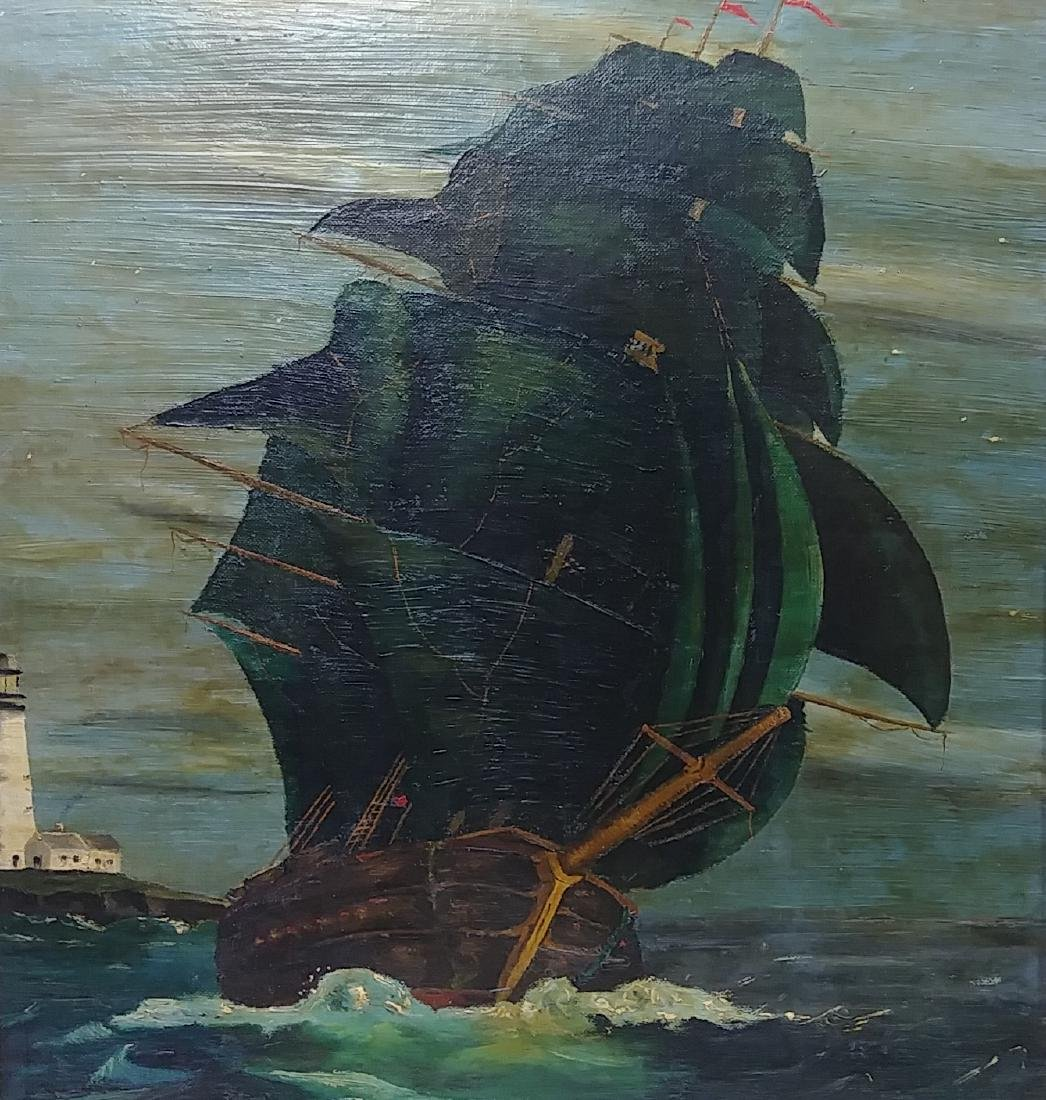 Antique Boat Oil Painting signed - 2
