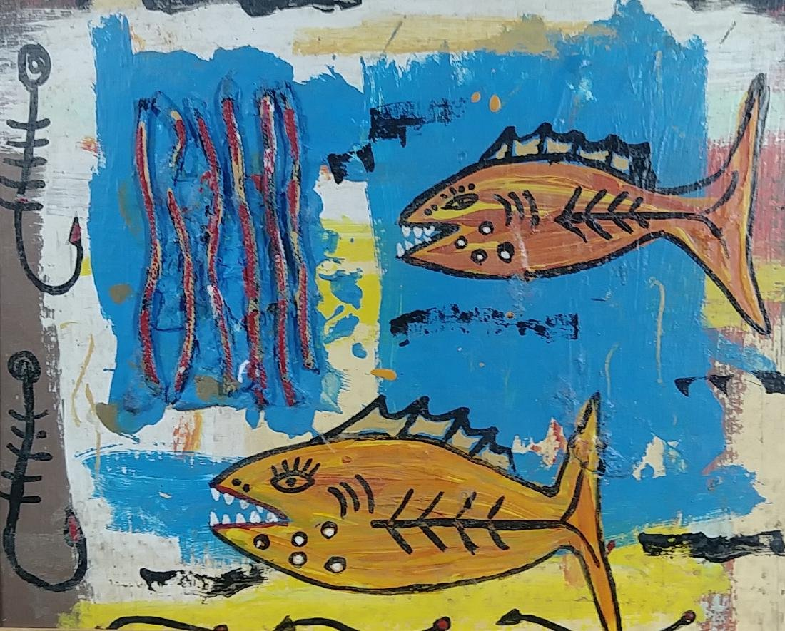 Original Fish Painting Signed - 2