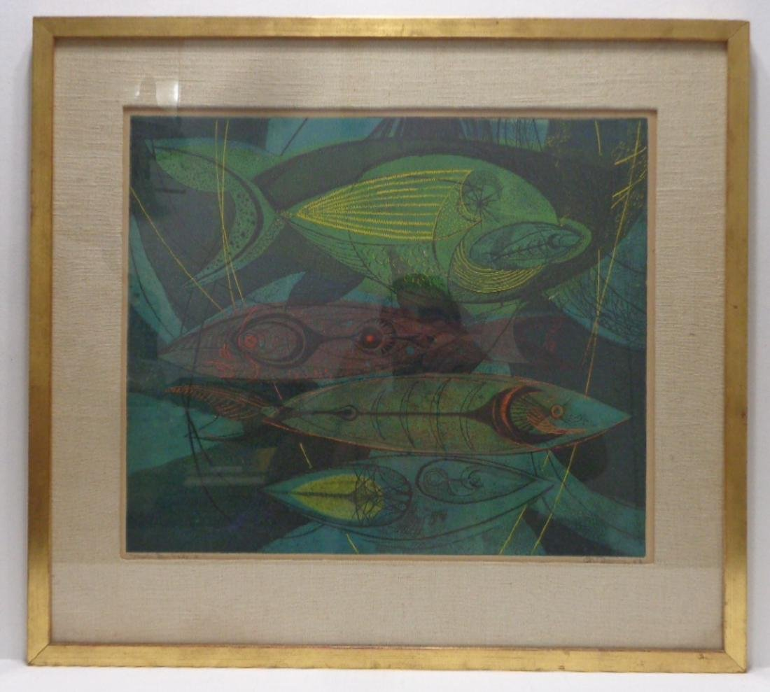 """Original 1952 Danny Pierce """"Fish in Nets 2"""" Etching and"""