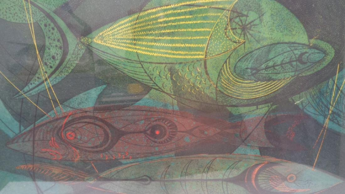 """Original 1952 Danny Pierce """"Fish in Nets 2"""" Etching and - 2"""