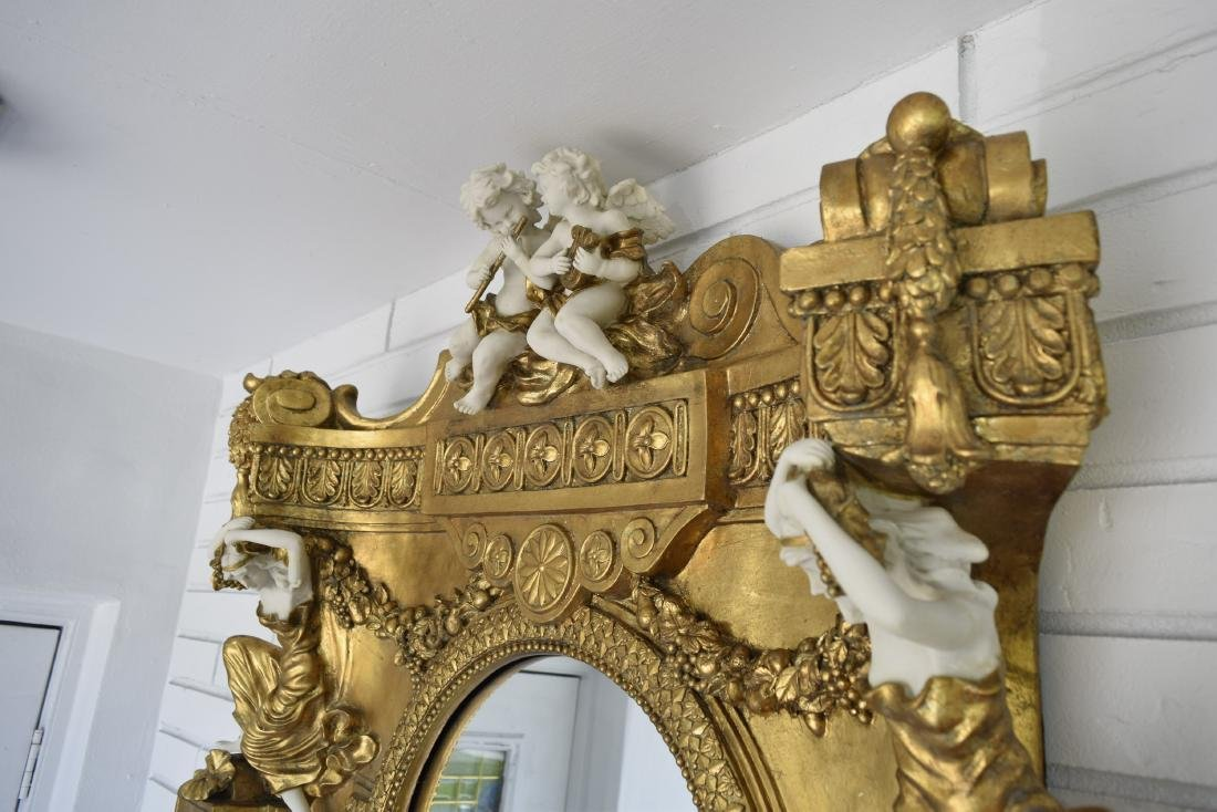 White Marble Top Gold Gilded Console Table and Matching - 4