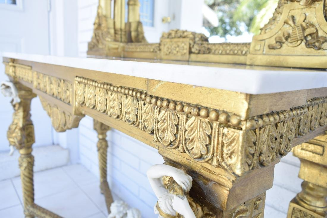 White Marble Top Gold Gilded Console Table and Matching - 7