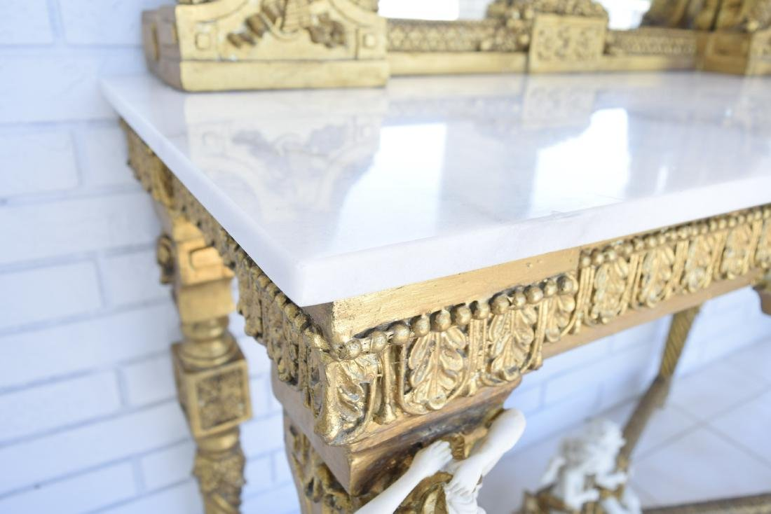 White Marble Top Gold Gilded Console Table and Matching - 8