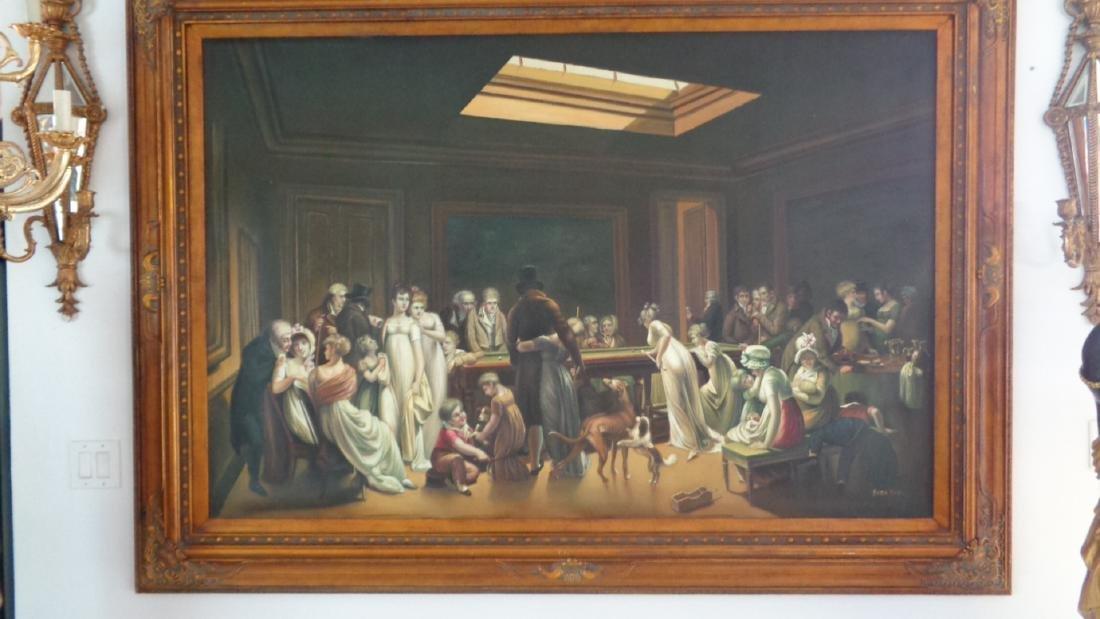 Large Oil Painting on Canvas Billiards Ladies - 2