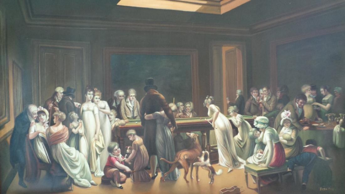 Large Oil Painting on Canvas Billiards Ladies - 3