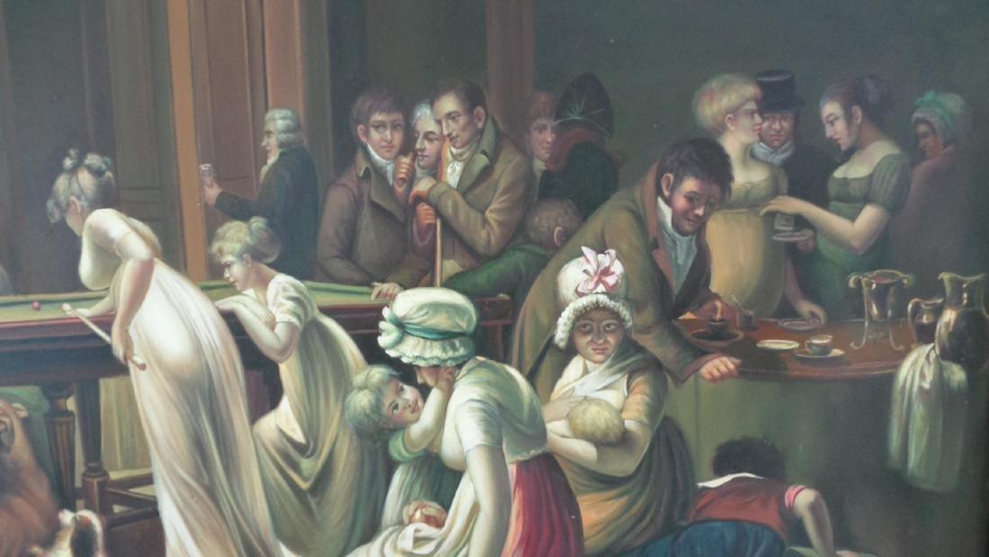 Large Oil Painting on Canvas Billiards Ladies - 5