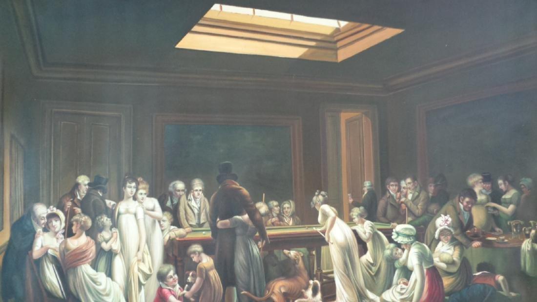 Large Oil Painting on Canvas Billiards Ladies - 7