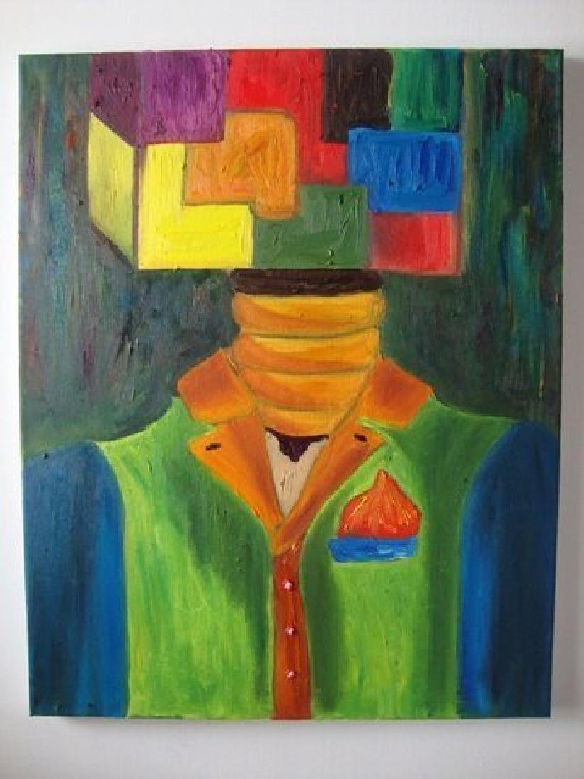 Original Oil Painting Sined by The New York-Square Head