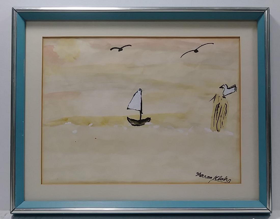 Original Signed Hand Painted Sailboat Seascape