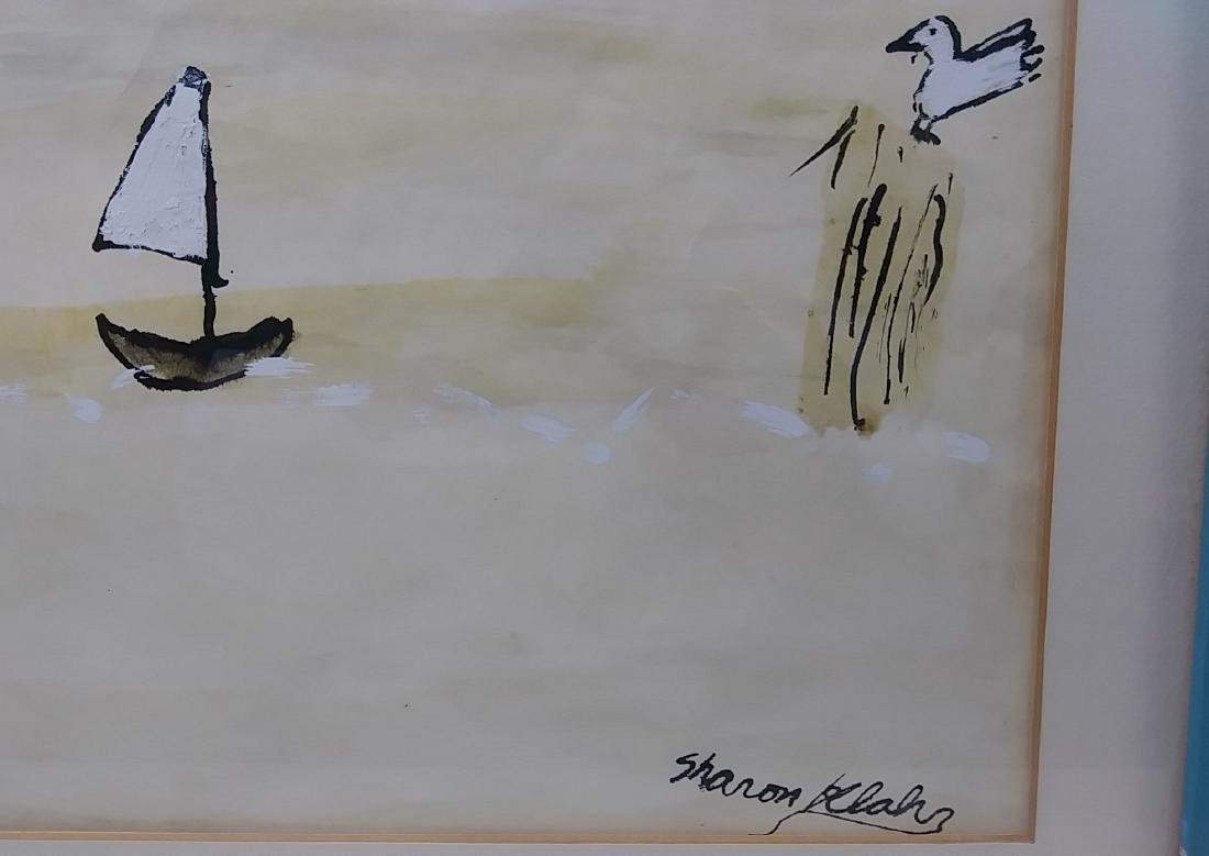 Original Signed Hand Painted Sailboat Seascape - 2