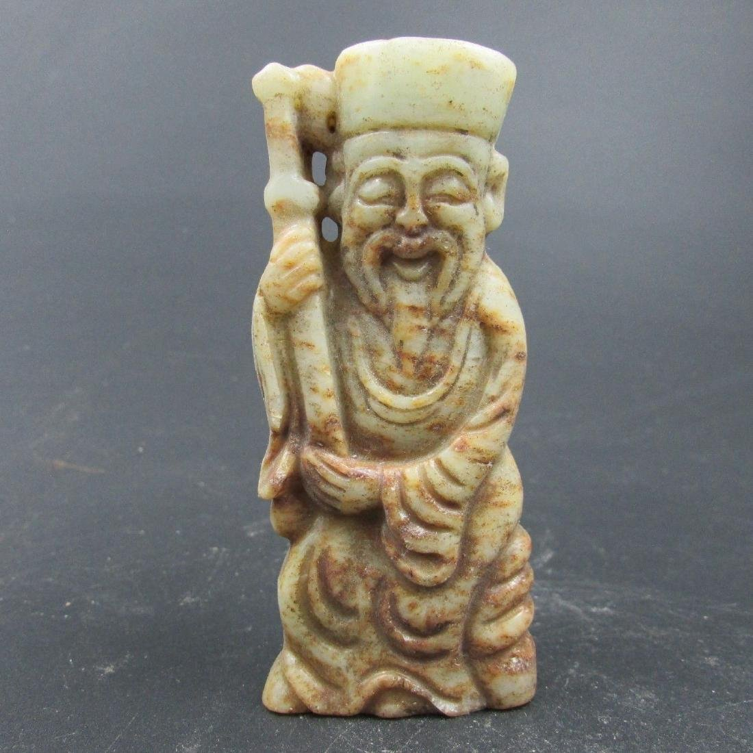 Antique Chinese Carved Natural Jade Old Man