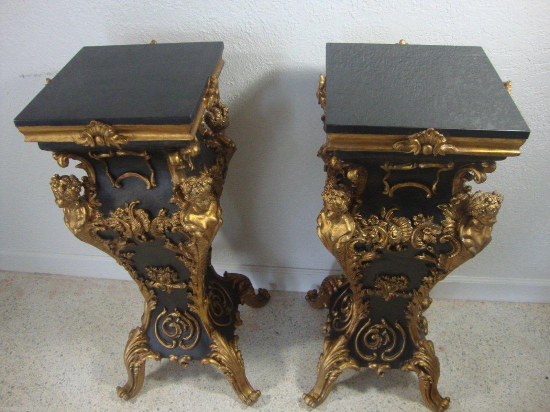 Pair of Black Marble Top Table Pedestal Beautiful Piece - 3