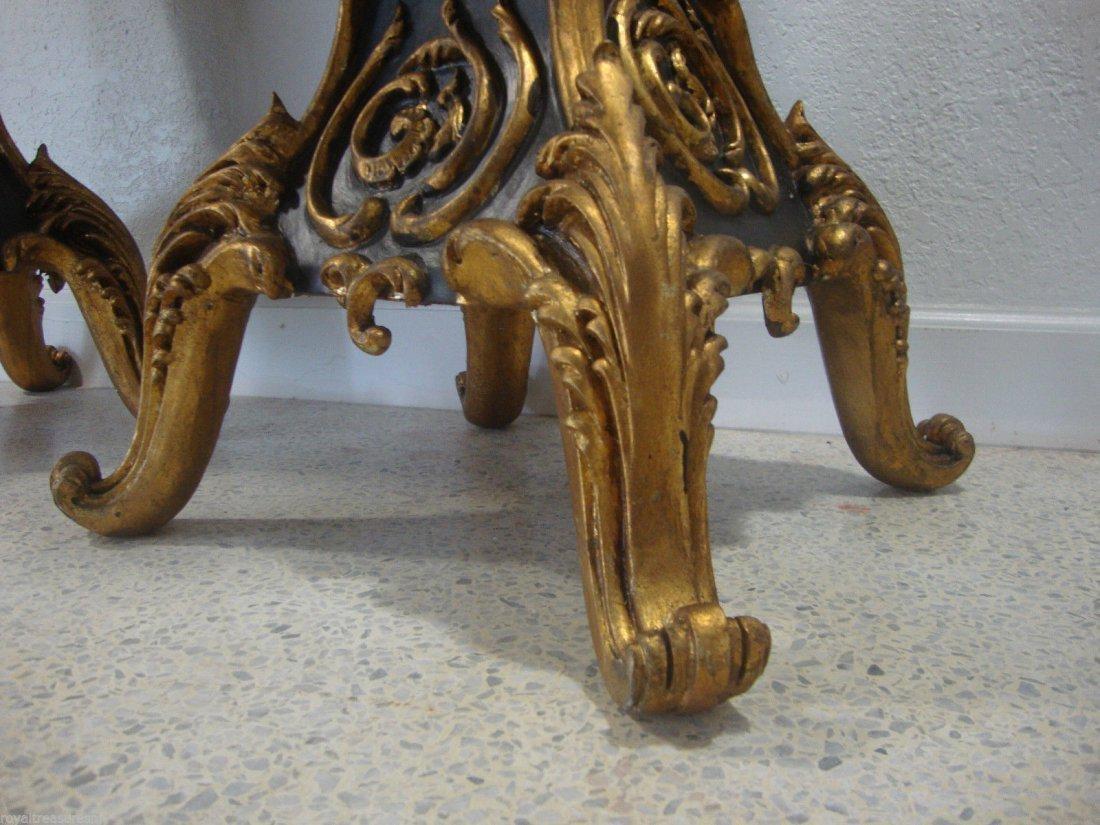 Pair of Black Marble Top Table Pedestal Beautiful Piece - 5