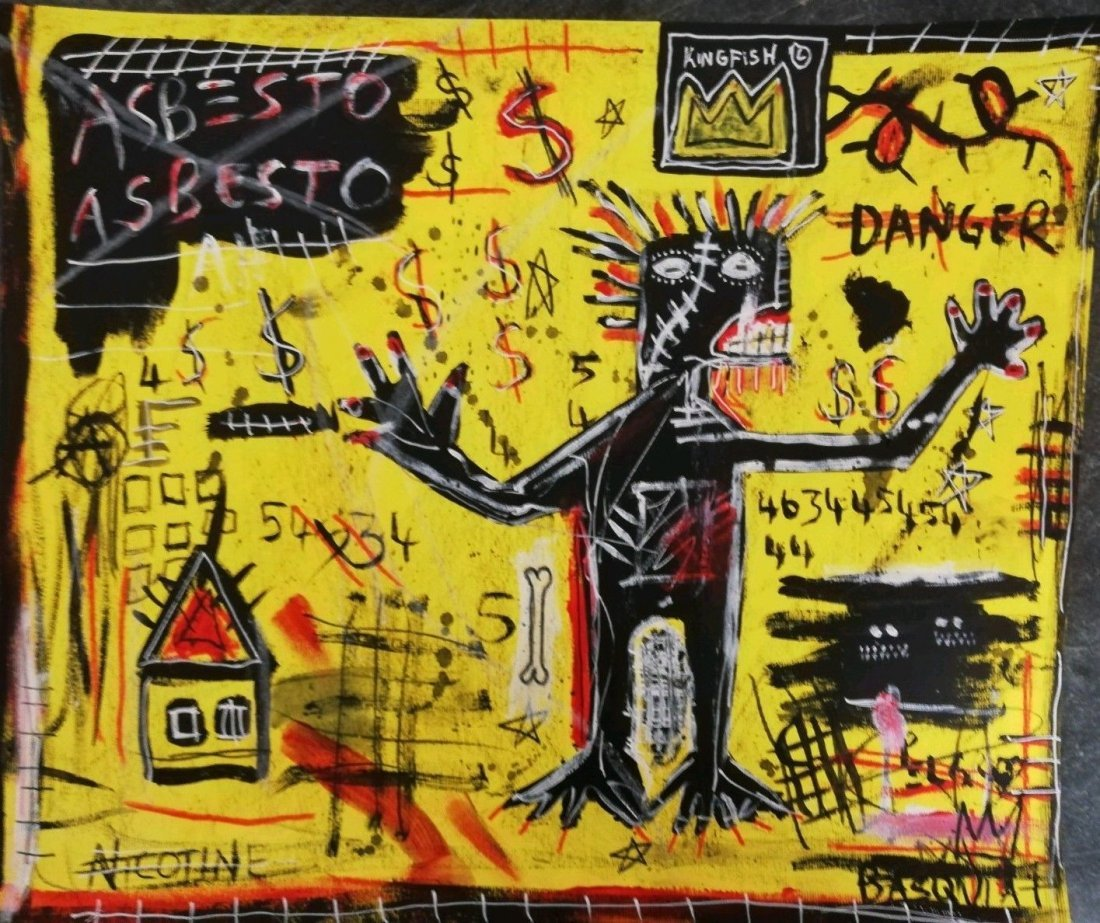 Jean-Michel Basquiat Large Painting Drawing (Untitled).