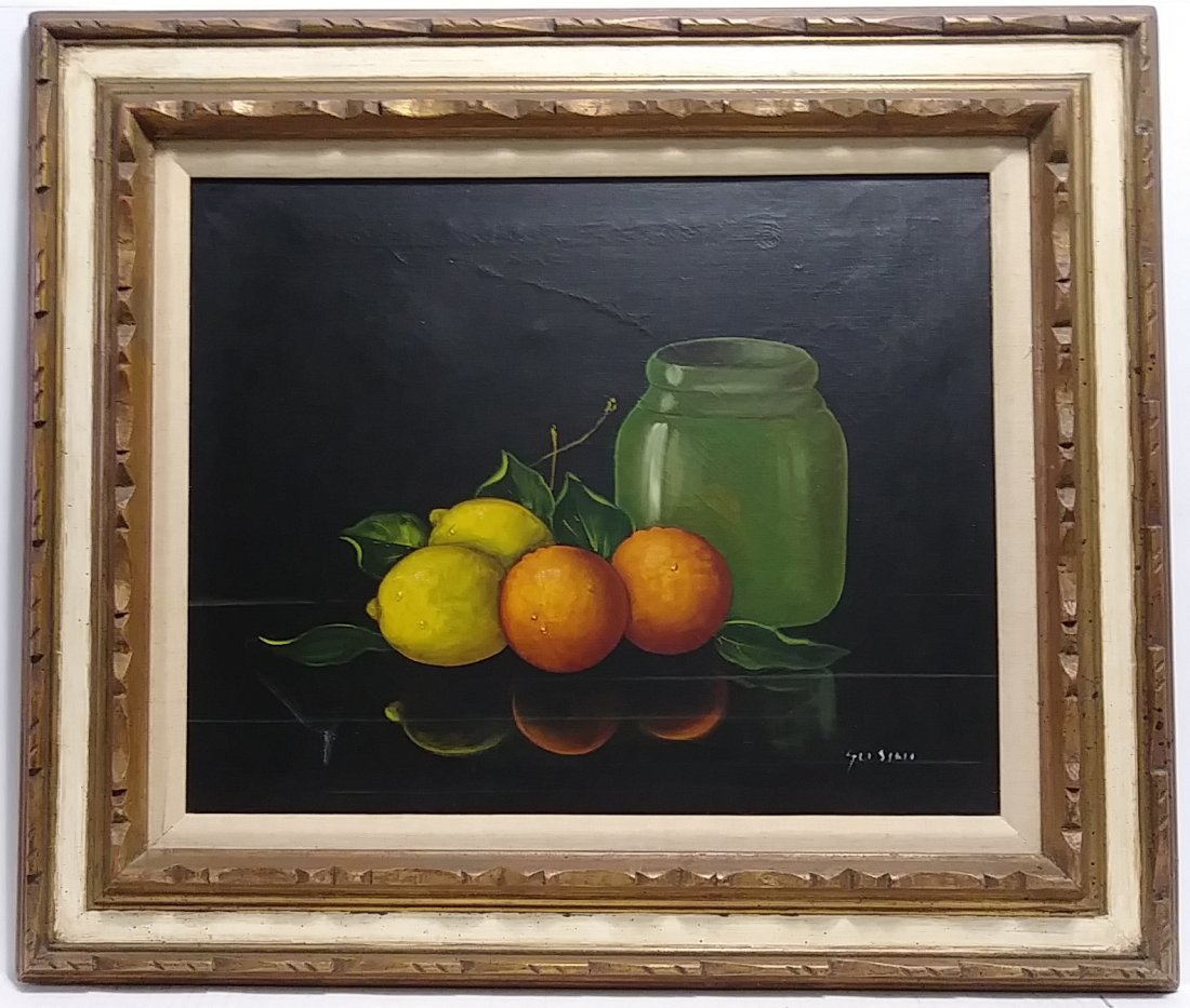 Original Gussini Signed Oil Painting Still Life Fruit