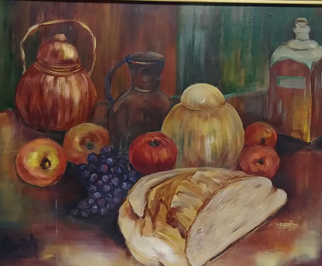 Original Signed Oil Painting Still Life Fruit - 4