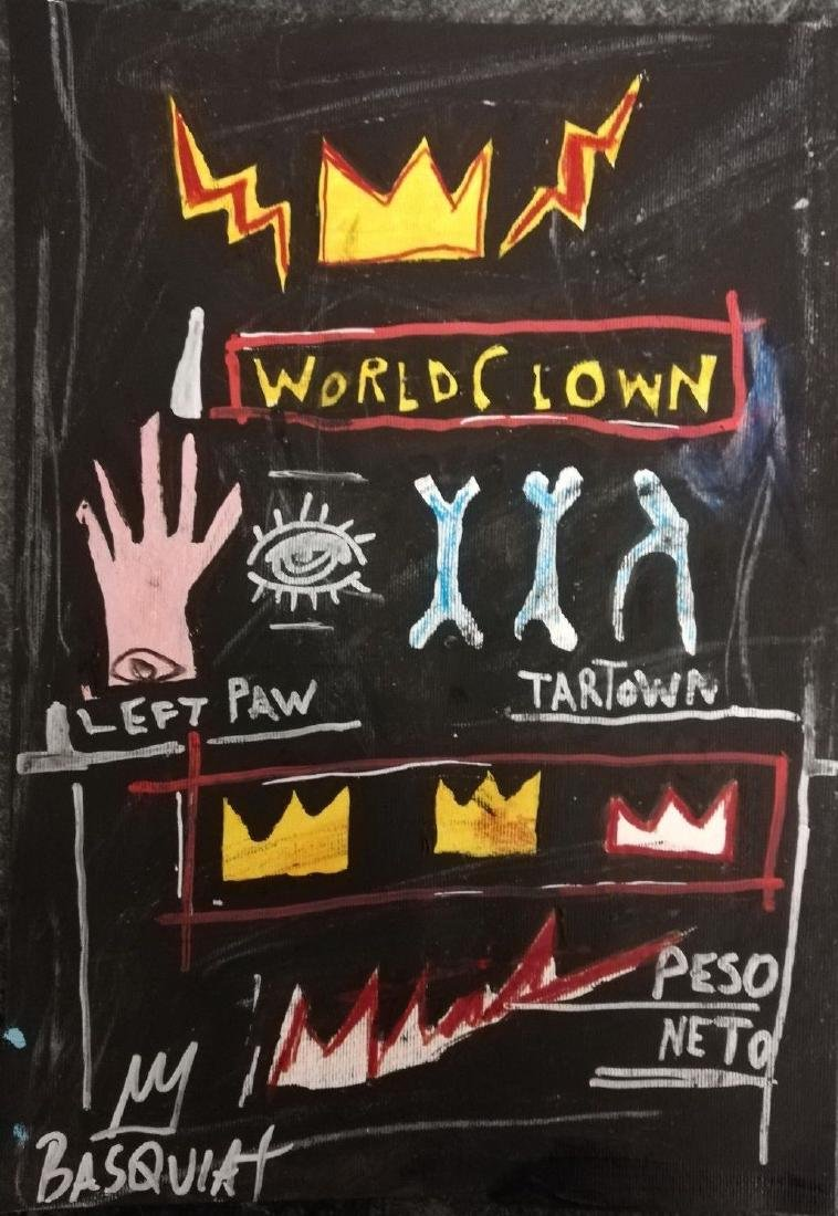 Crown After Jean-Michel Basquiat- Mixed Media