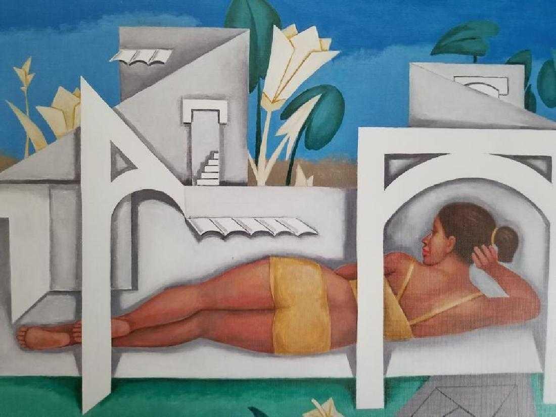 Adigio Benitez Lithograph Print on Paper-En Casas Blanc
