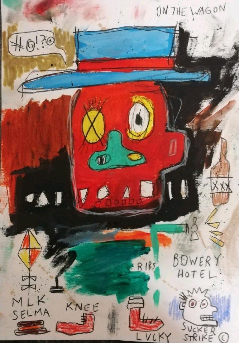 Lucky After Jean-Michel Basquiat- Mixed Media