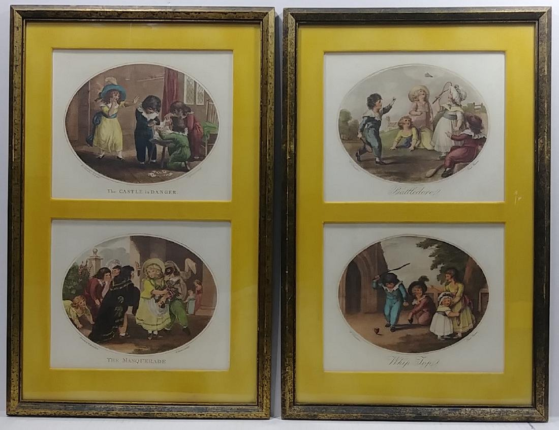 Lot of 2 Hand Colored Engraving