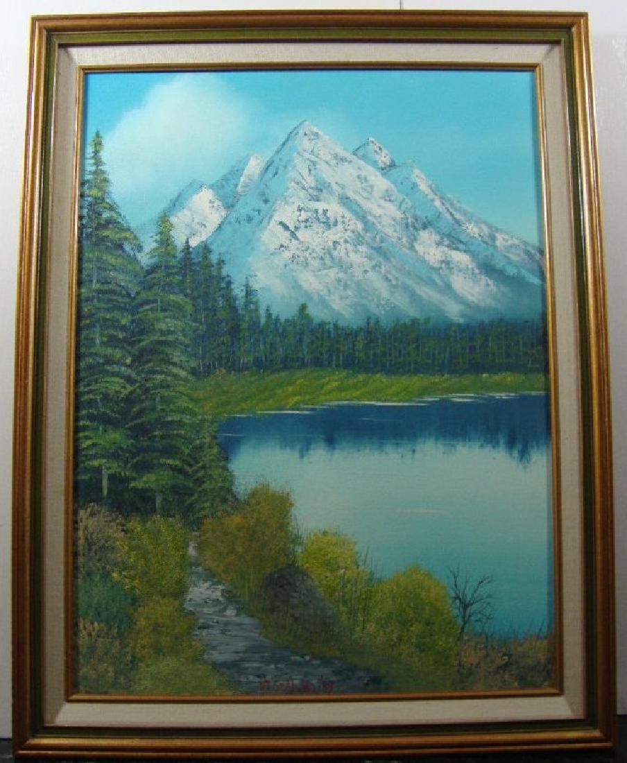 """P. T""""Sea Lund""""Canada 1989 Landscape Oil Painting Signed"""