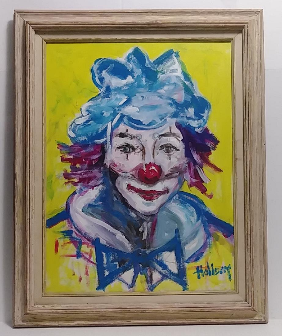 Signed Holiday, Clown Oil Painting on Canvas