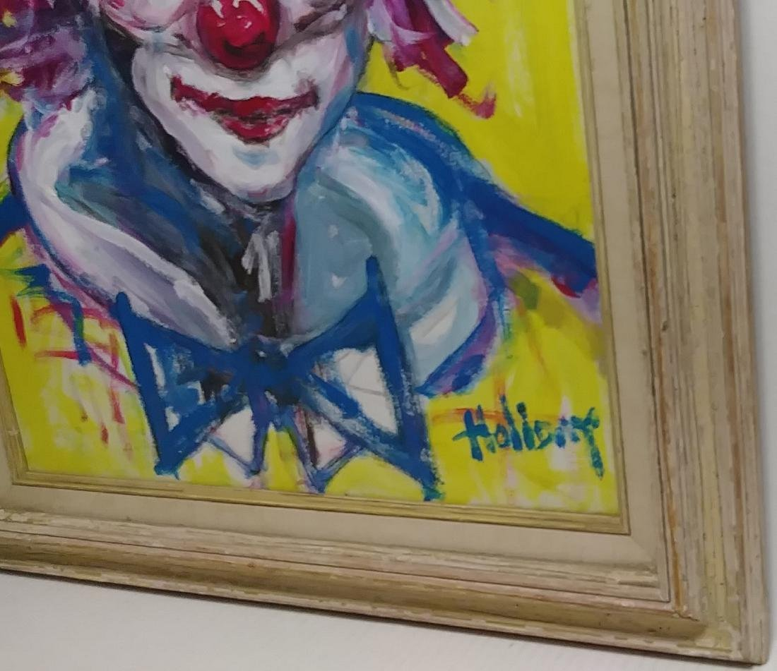 Signed Holiday, Clown Oil Painting on Canvas - 2