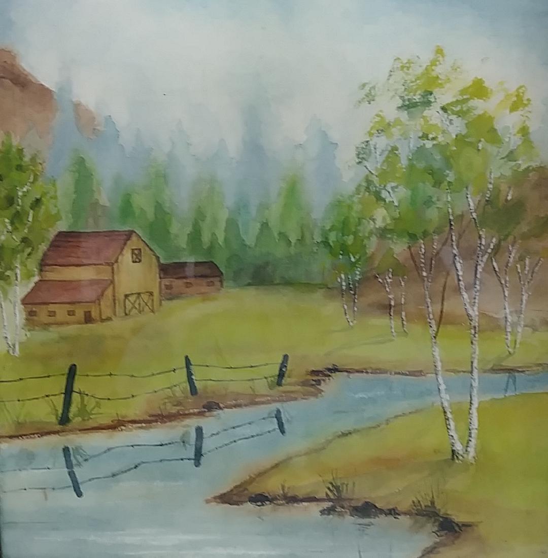 Vintage Original Landscape Watercolor Painting - 2