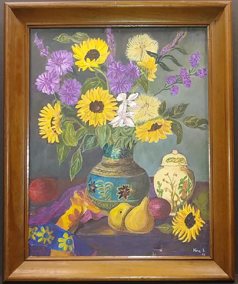 Vintage Still Live flower Oil Painting Signed - 2