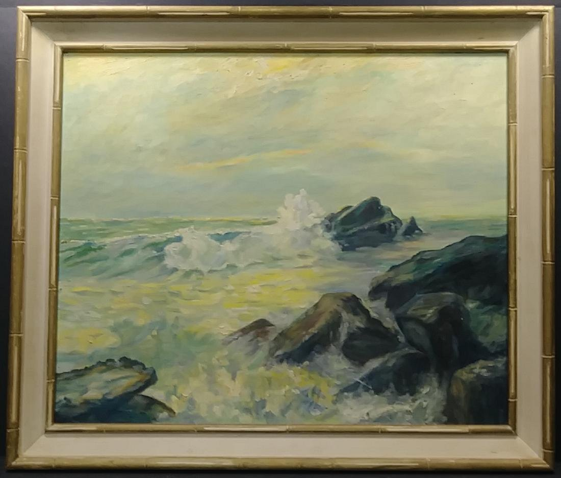 Seascape 1976  Oil Painting Signed