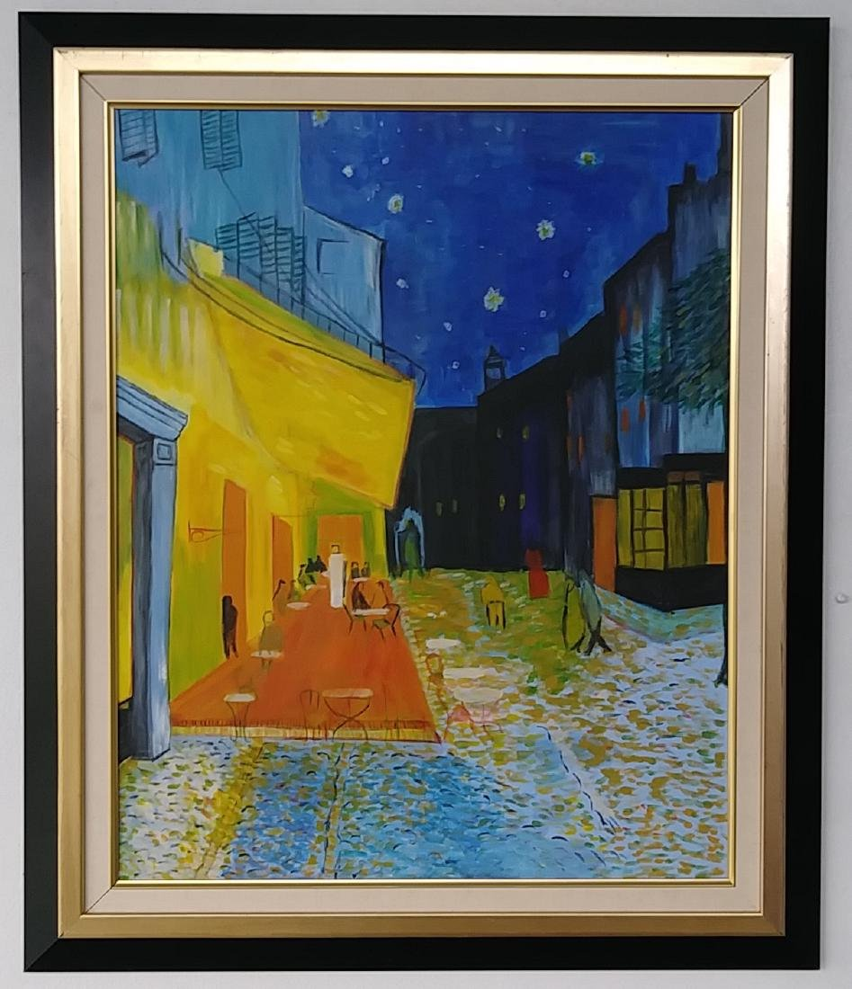Street Scenes Oil Painting Signed - 2