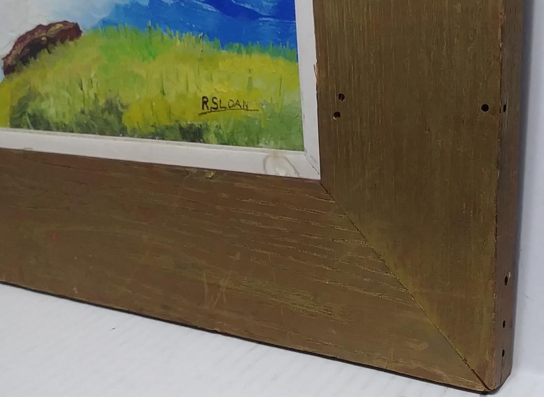 Original R. Sloan Signed Vintage Landscape Oil Painting - 3