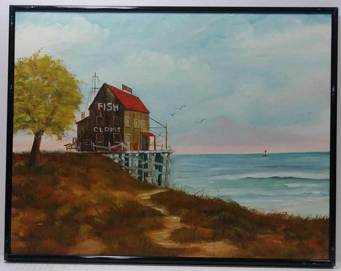 Weiss Signed Seascape Oil Painting.
