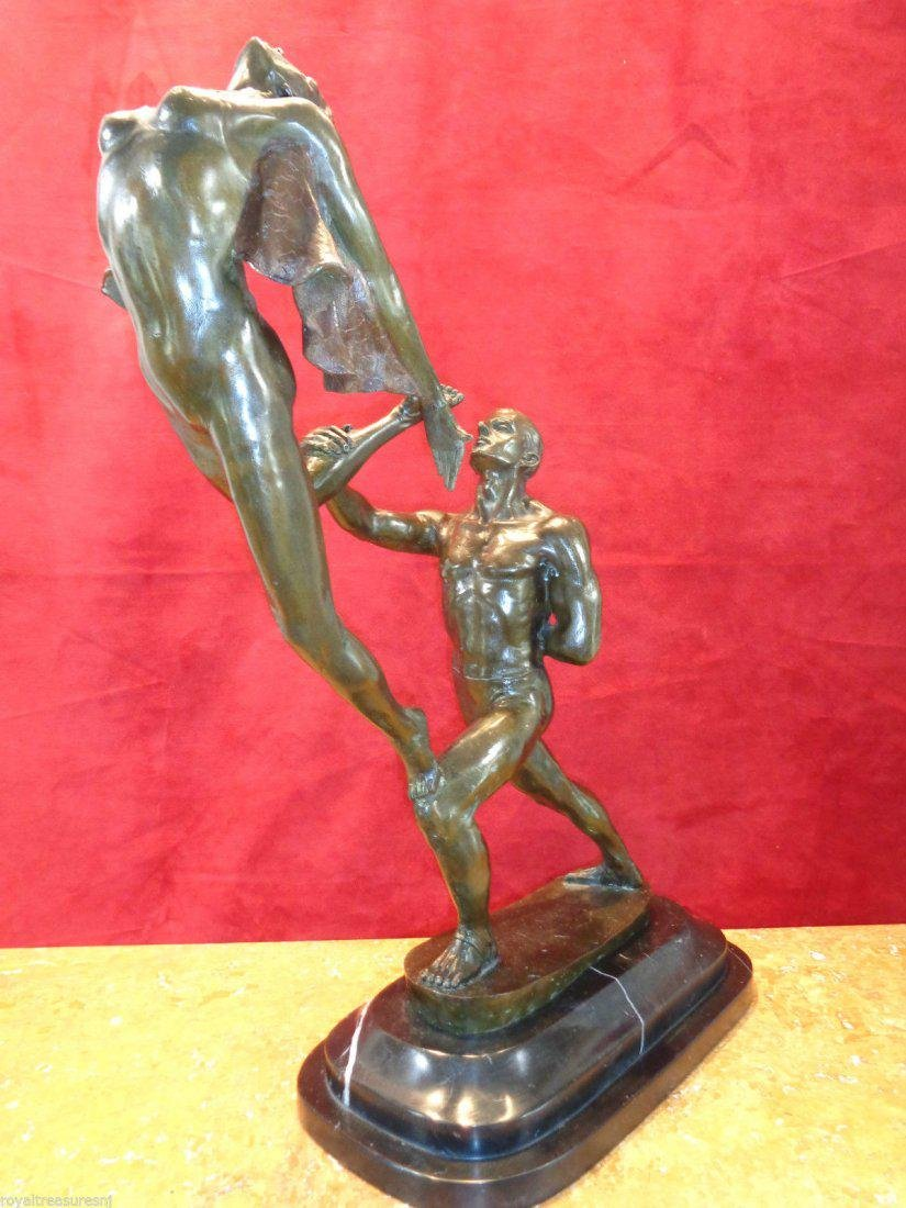 Large Art Nouveau Bronze Statue - 6