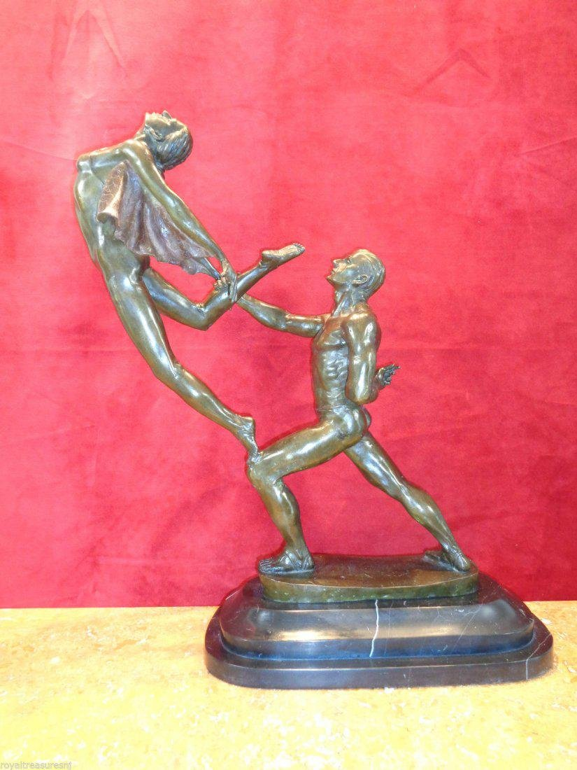 Large Art Nouveau Bronze Statue - 7