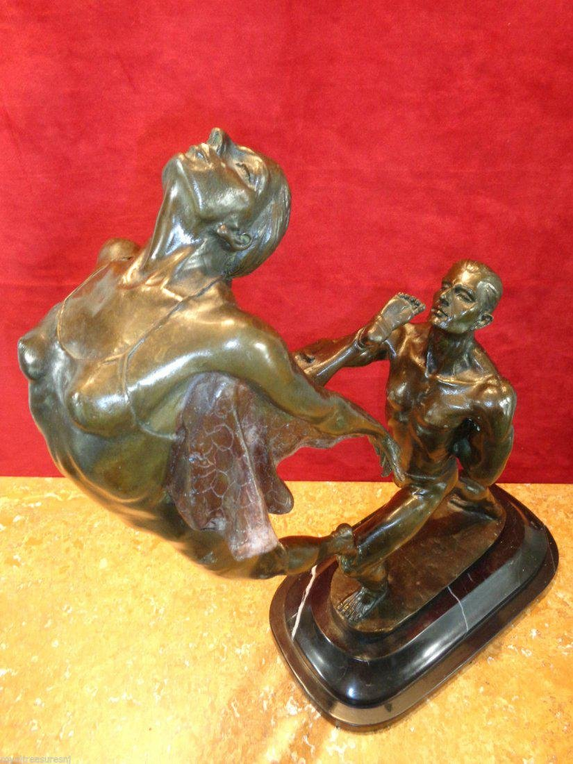 Large Art Nouveau Bronze Statue - 8