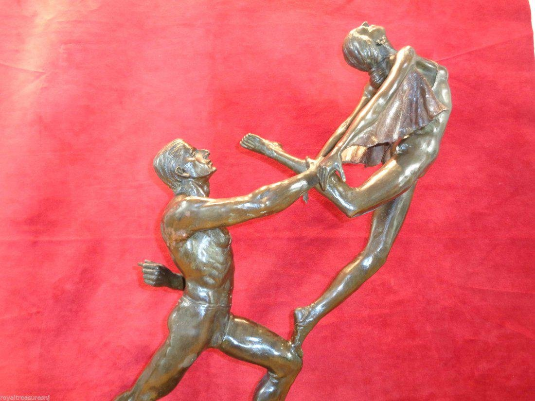 Large Art Nouveau Bronze Statue - 9