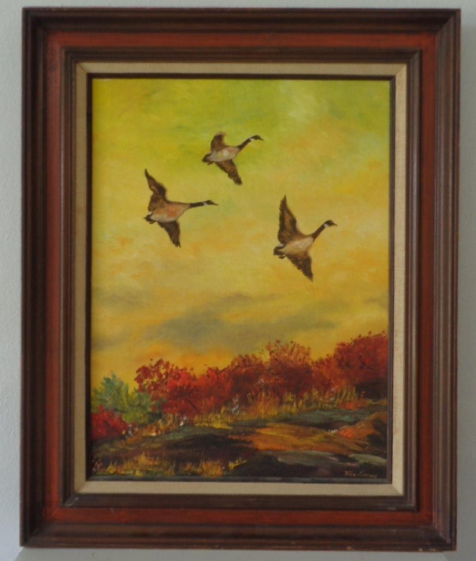 Original Hand Oil Painting Signed Docks Flying