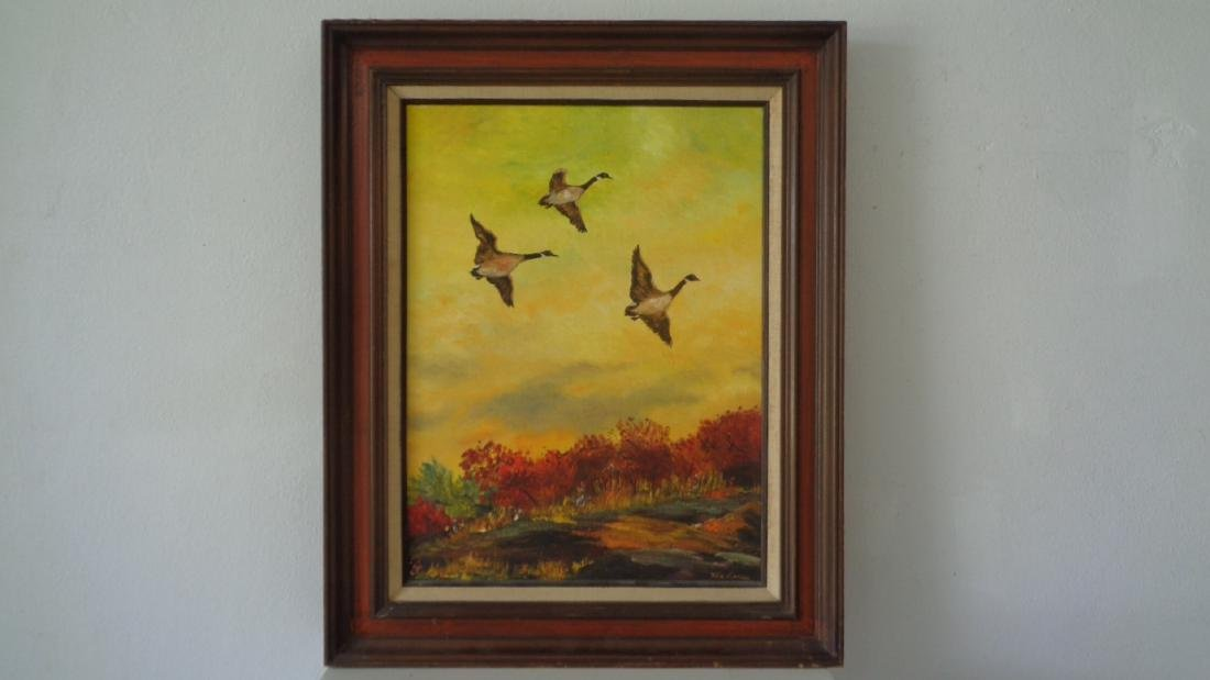 Original Hand Oil Painting Signed Docks Flying - 2