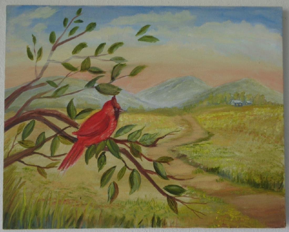 Original Oil Painting on Canvas-Tropical Bird To