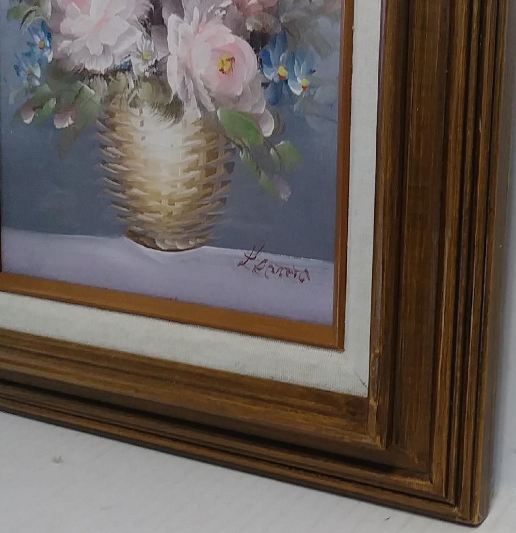 Signed Oil Painting Basquet of Flower - 2