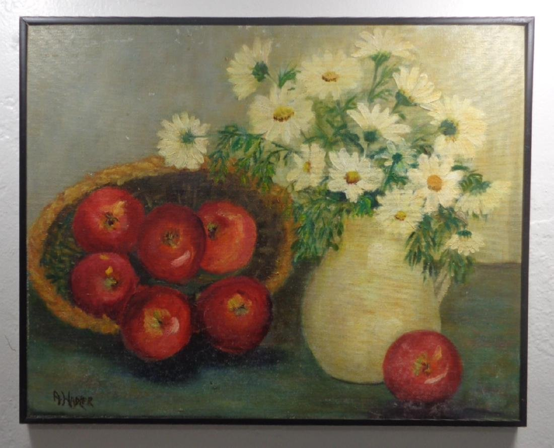 Original A.Hadler Oil Painting on Canvas Board Signed.