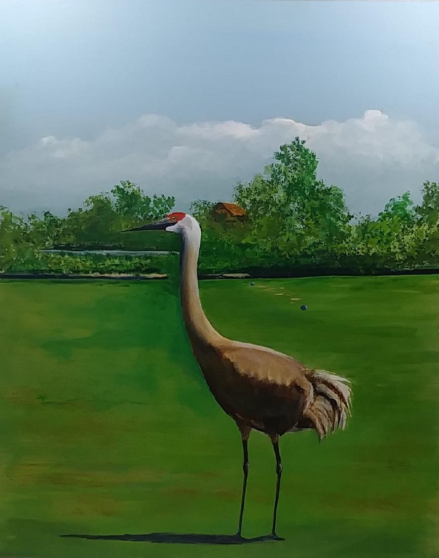 Florida Sandhill  Oil Painting Signed - 2