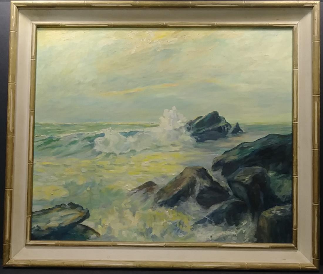 Seascape 1976  Oil Painting Signed - 2